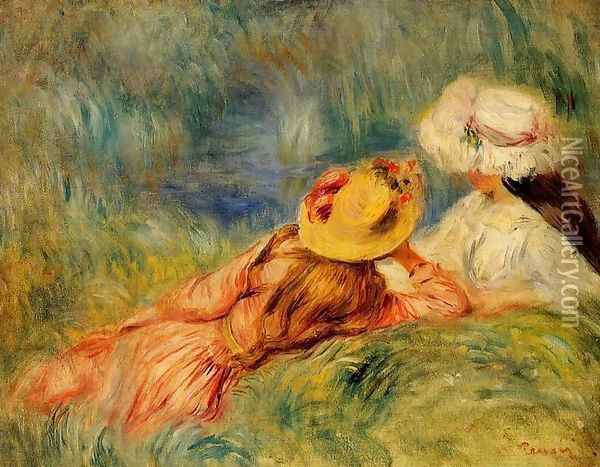 Young Girls By The Water Oil Painting - Pierre Auguste Renoir