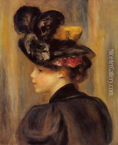 Young Woman Wearing A Black Hat Oil Painting - Pierre Auguste Renoir