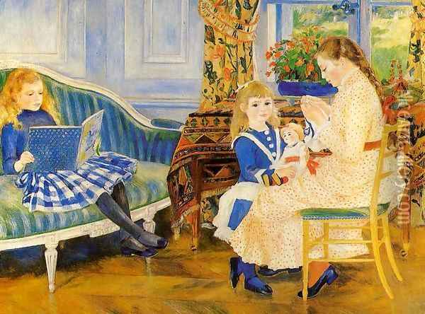 Childrens Afternoon At Wargemont Aka Marguerite Lucie And Marthe Barard Oil Painting - Pierre Auguste Renoir