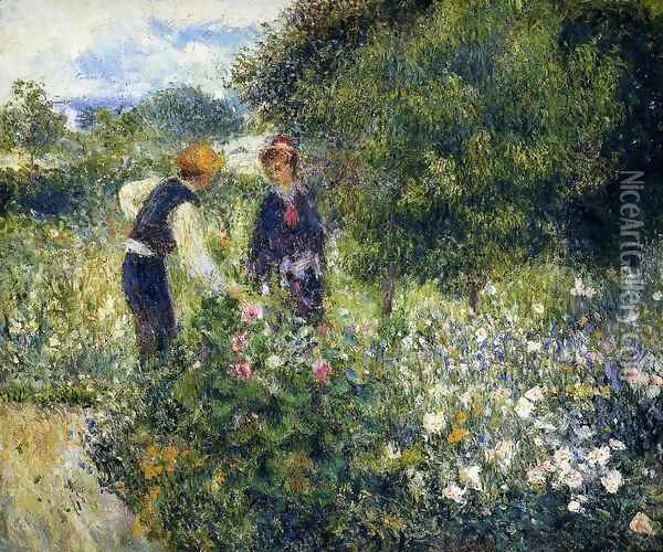 Picking Flowers Oil Painting - Pierre Auguste Renoir