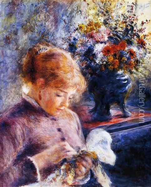 Young Woman Sewing Oil Painting - Pierre Auguste Renoir