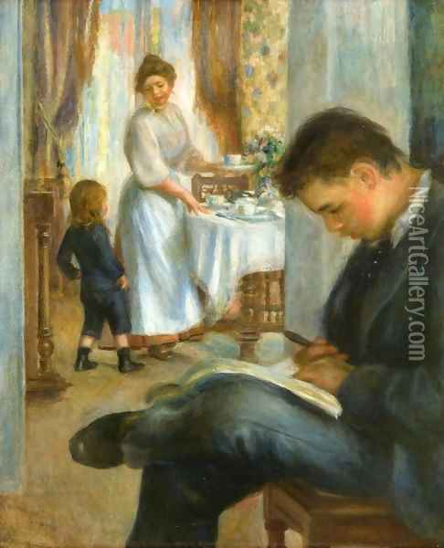Breakfast At Berneval Oil Painting - Pierre Auguste Renoir