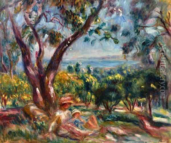 Cagnes Landscape with Woman and Child Oil Painting - Pierre Auguste Renoir