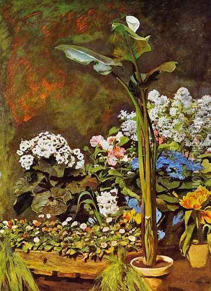 Arum And Conservatory Plants Oil Painting - Pierre Auguste Renoir