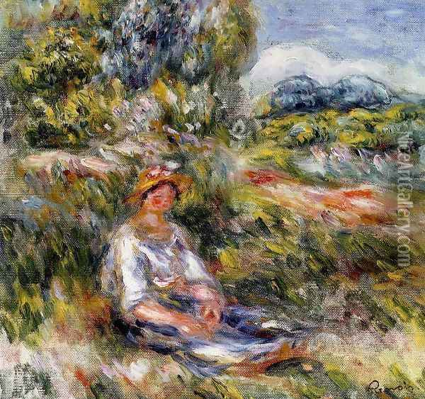 Young Girl Seated In A Meadow Oil Painting - Pierre Auguste Renoir