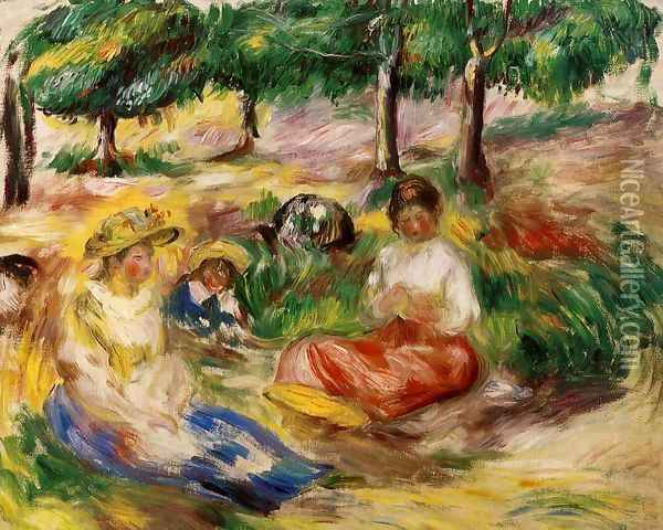 Three Young Girls Sitting In The Grass Oil Painting - Pierre Auguste Renoir