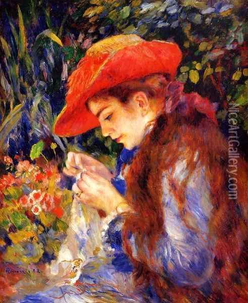Mademoiselle Marie-Therese Durand-Ruel Sewing Oil Painting - Pierre Auguste Renoir