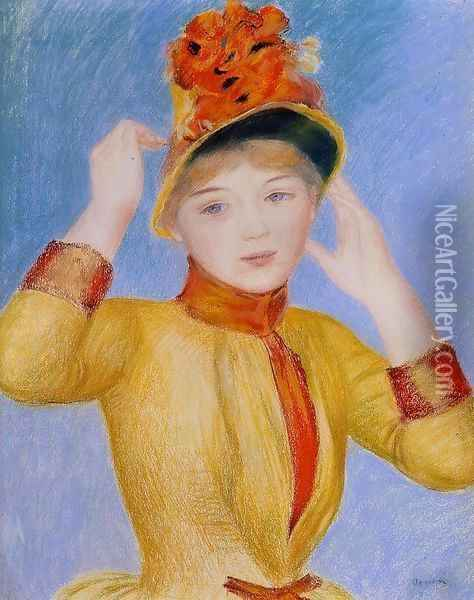 Bust Of A Woman Aka Yellow Dress Oil Painting - Pierre Auguste Renoir