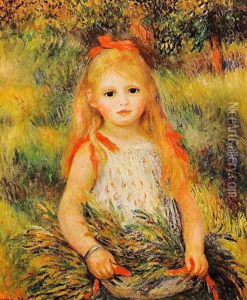Little Girl With A Spray Of Flowers Oil Painting - Pierre Auguste Renoir