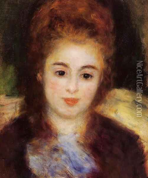 Head Of A Young Woman Wearing A Blue Scarf Aka Madame Henriot Oil Painting - Pierre Auguste Renoir