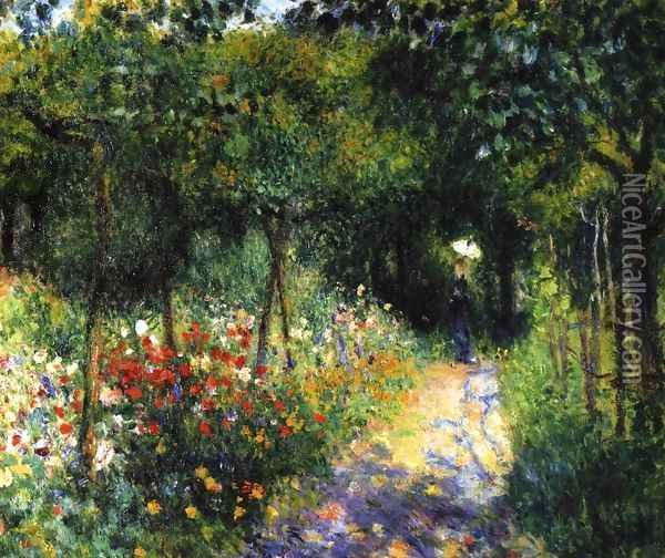 Women In A Garden Oil Painting - Pierre Auguste Renoir