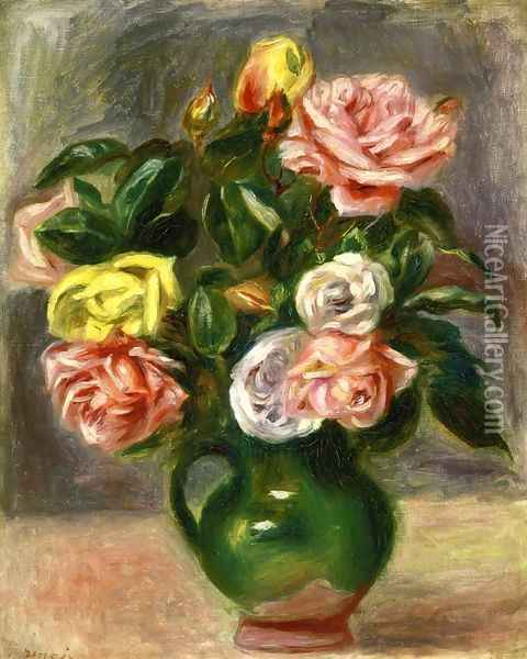 Bouquet of Roses in a Green Vase Oil Painting - Pierre Auguste Renoir
