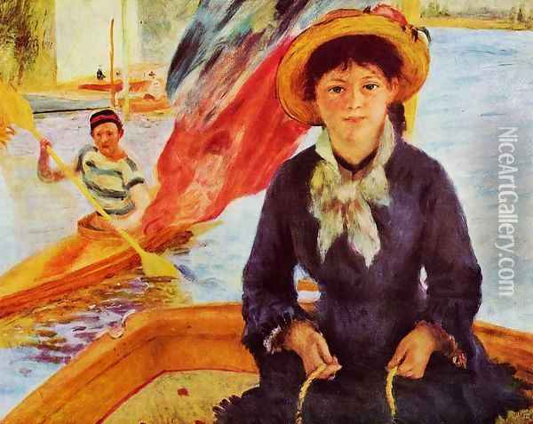 Canoeing Aka Young Girl In A Boat Oil Painting - Pierre Auguste Renoir