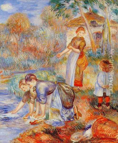 Laundresses Oil Painting - Pierre Auguste Renoir