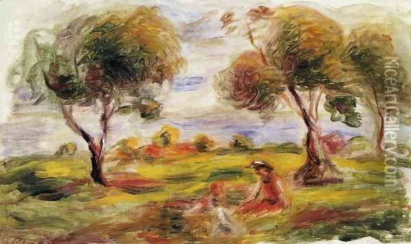 Landscape With Figures At Cagnes Oil Painting - Pierre Auguste Renoir