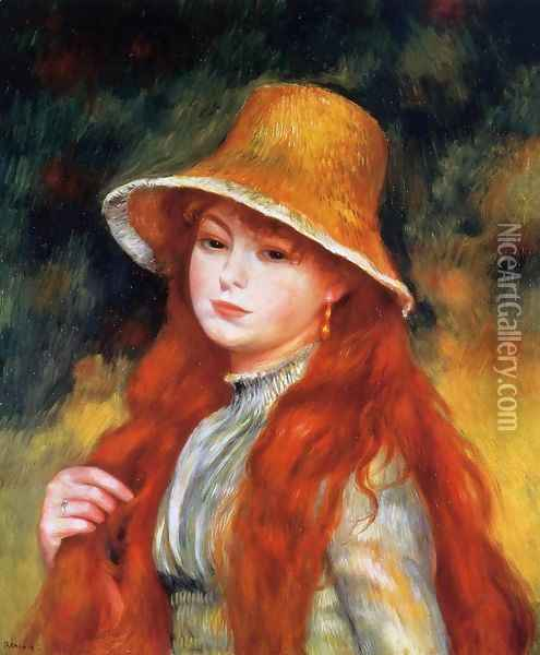 Young Girl In A Straw Hat Oil Painting - Pierre Auguste Renoir