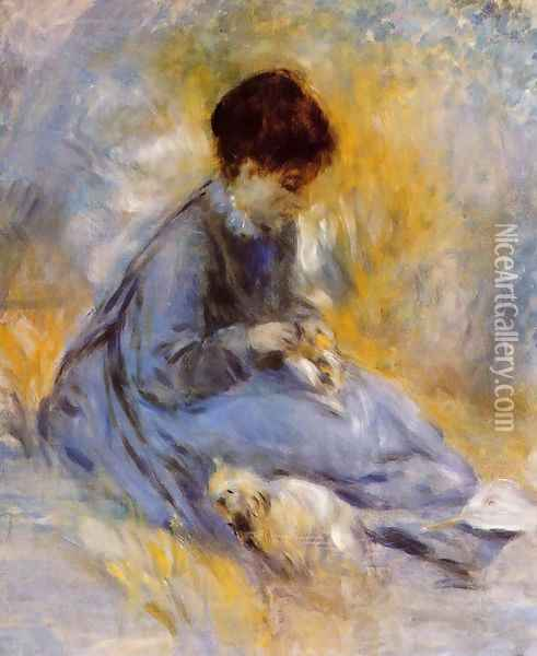 Young Woman With A Dog Oil Painting - Pierre Auguste Renoir