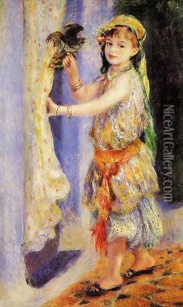 Girl With Falcon Oil Painting - Pierre Auguste Renoir