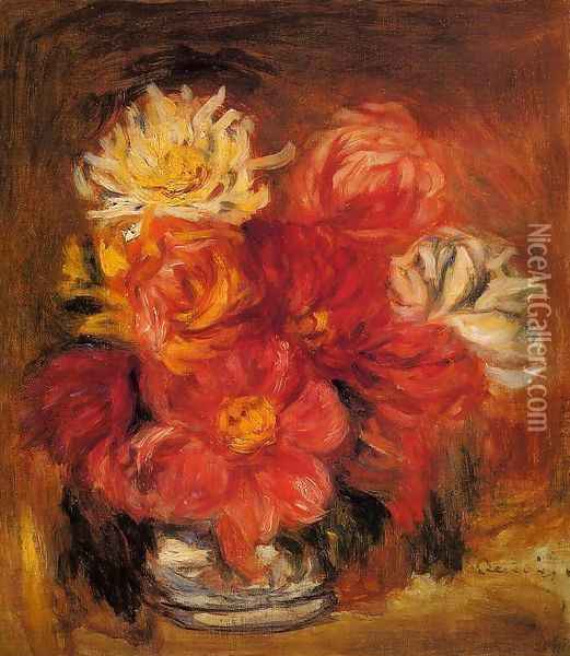 Dahlias Oil Painting - Pierre Auguste Renoir