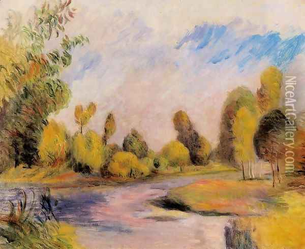 Banks Of A River Oil Painting - Pierre Auguste Renoir