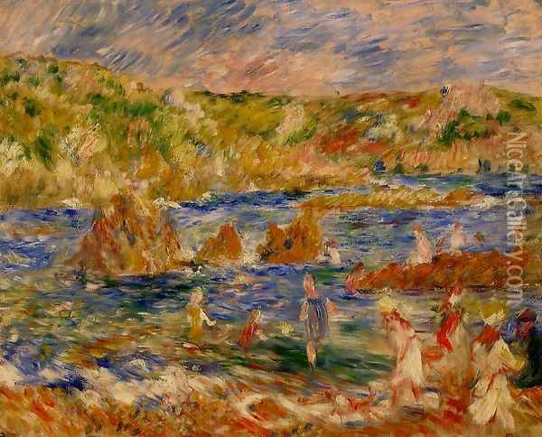 Children On The Beach At Guernsey Oil Painting - Pierre Auguste Renoir