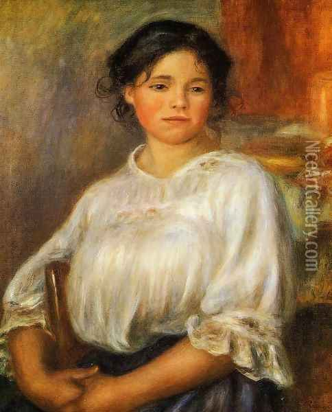 Young Woman Seated Oil Painting - Pierre Auguste Renoir