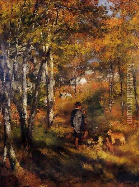 The Painter Jules Le Coeur Walking His Dogs In The Forest Of Fontainebleau Oil Painting - Pierre Auguste Renoir