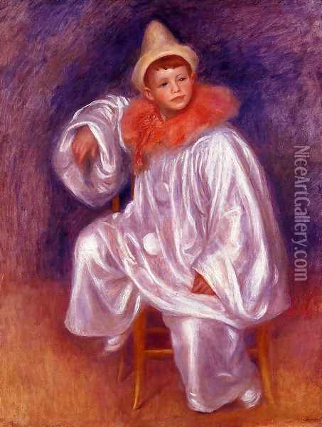 The White Pierrot (Jean Renoir) Oil Painting - Pierre Auguste Renoir