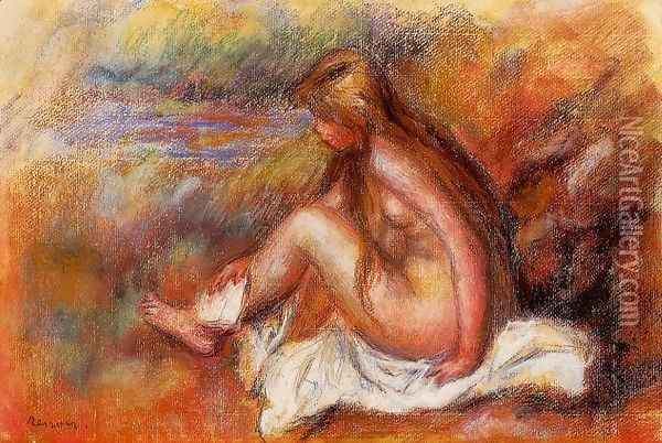 Bather Seated By The Sea Oil Painting - Pierre Auguste Renoir