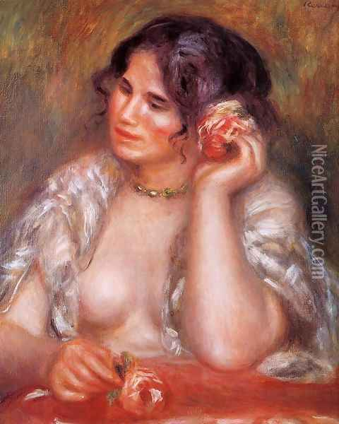 Gabrielle With A Rose Oil Painting - Pierre Auguste Renoir