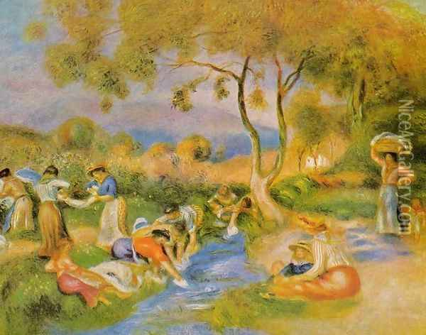 Laundresses At Cagnes Oil Painting - Pierre Auguste Renoir