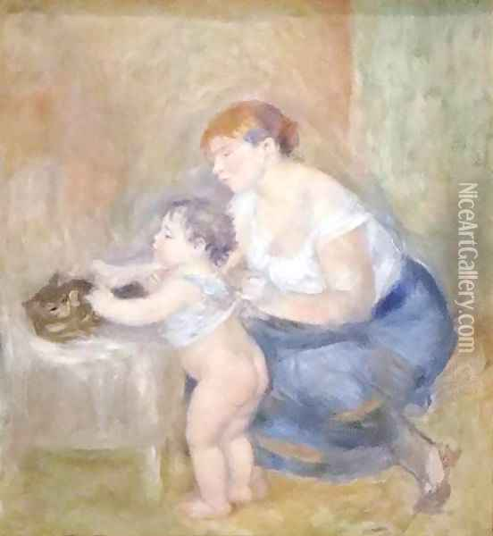 Mother and Child Oil Painting - Pierre Auguste Renoir