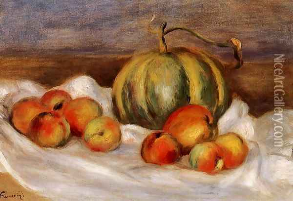 Still Life With Cantalope And Peaches Oil Painting - Pierre Auguste Renoir