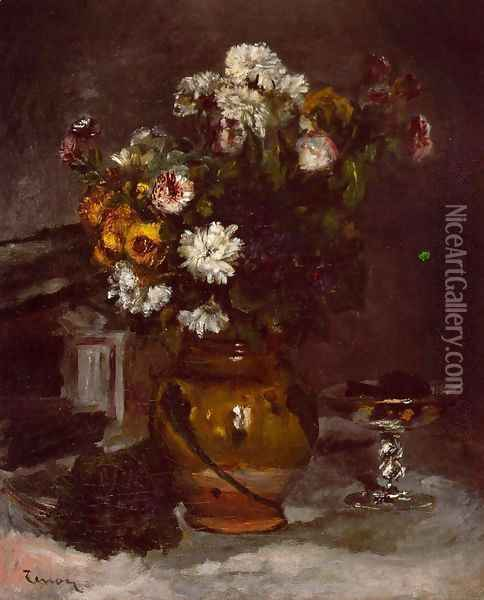 Flowers In A Vase And A Glass Of Champagne Oil Painting - Pierre Auguste Renoir