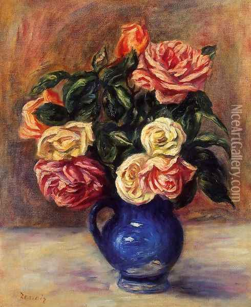Roses In A Blue Vase Oil Painting - Pierre Auguste Renoir