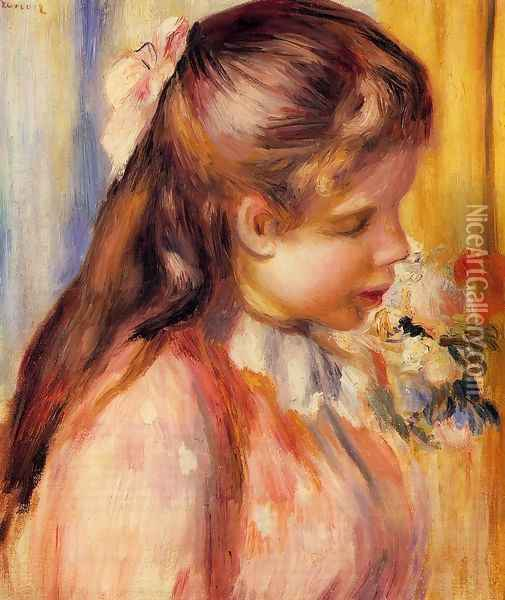 Bust Of A Young Girl Oil Painting - Pierre Auguste Renoir