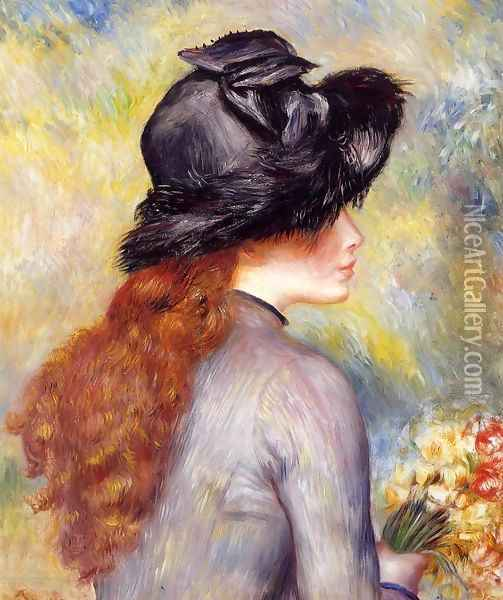Young Girl Holding At Bouquet Of Tulips Oil Painting - Pierre Auguste Renoir