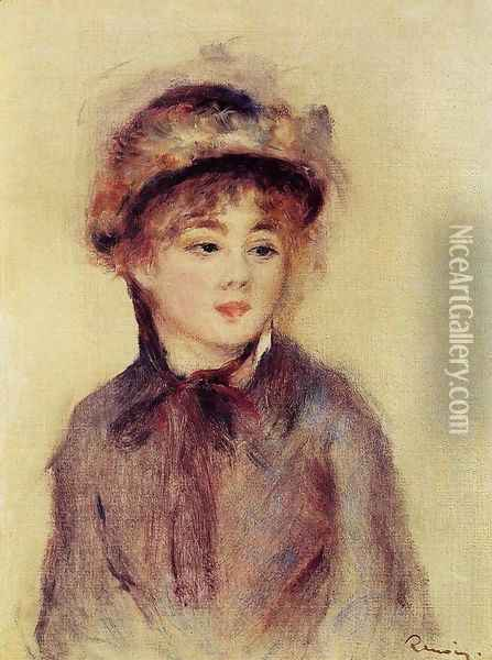 Bust Of A Woman Wearing A Hat Oil Painting - Pierre Auguste Renoir