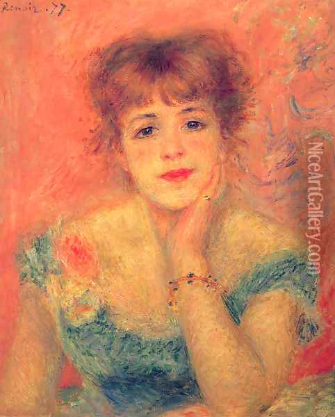 Jeanne Samary in a Low-Necked Dress Oil Painting - Pierre Auguste Renoir