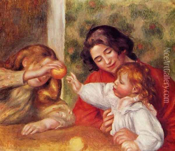 Gabrielle Jean And A Little Girl Oil Painting - Pierre Auguste Renoir