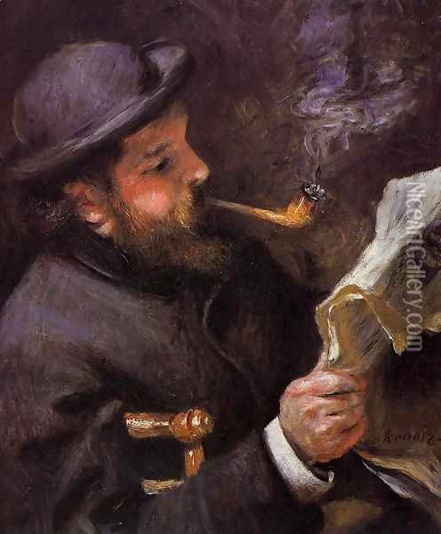 Claude Monet Reading A Newspaper Oil Painting - Pierre Auguste Renoir