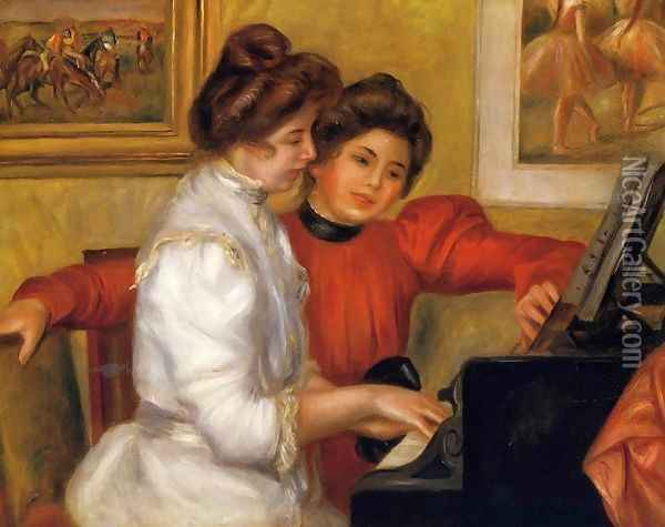 Young Girls At The Piano Oil Painting - Pierre Auguste Renoir