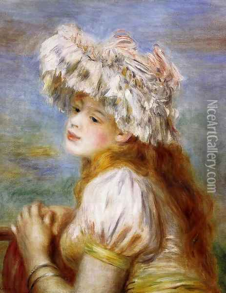 Girl In A Lace Hat Oil Painting - Pierre Auguste Renoir