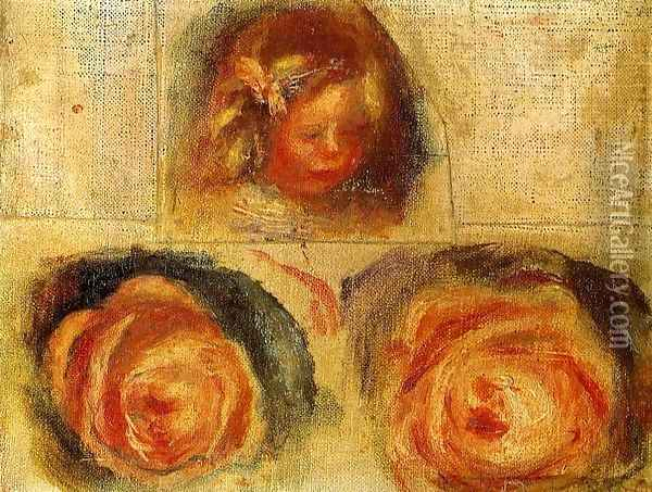 Coco And Roses (study) Oil Painting - Pierre Auguste Renoir