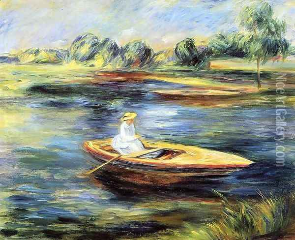Young Woman Seated In A Rowboat Oil Painting - Pierre Auguste Renoir