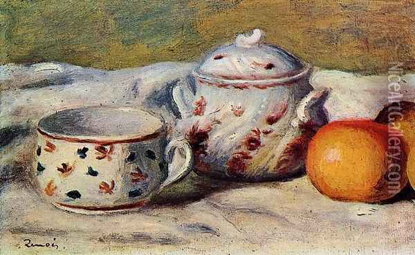 Still Life With Cup And Sugar Bowl Oil Painting - Pierre Auguste Renoir