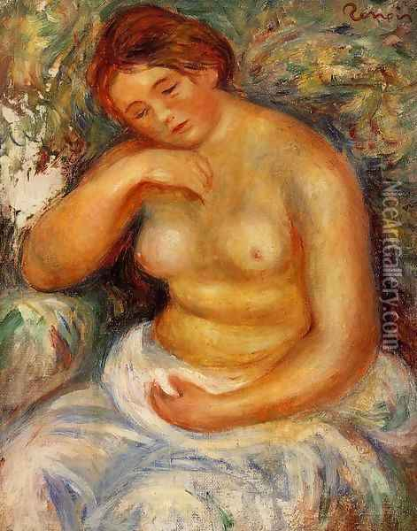 Seated Nude With A Bouquet Oil Painting - Pierre Auguste Renoir