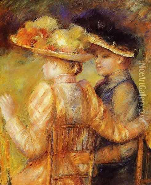 Two Women In A Garden Oil Painting - Pierre Auguste Renoir