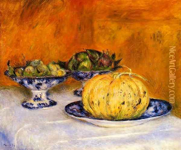 Still Life With Melon Oil Painting - Pierre Auguste Renoir