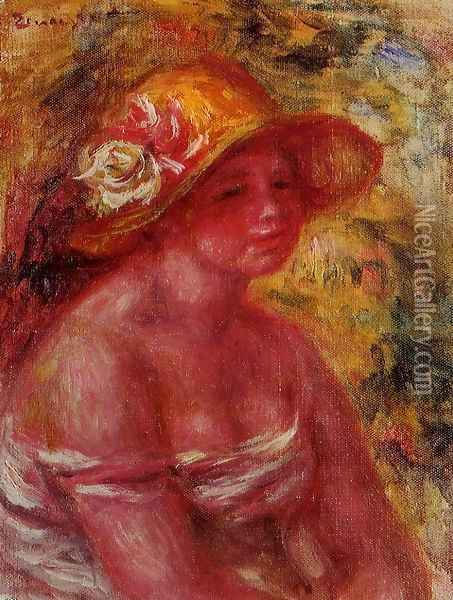 Bust Of A Young Girl Wearing A Straw Hat Oil Painting - Pierre Auguste Renoir